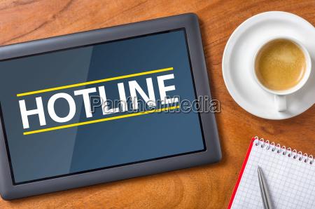 tablet on desk hotline