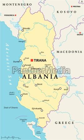 albanien politische karte