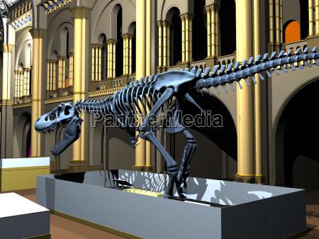 britisches naturkundemuseum mit saurierskeletten
