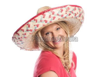 blonde woman with sombrero smiling