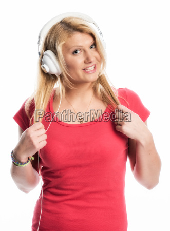 blonde young woman with headphones
