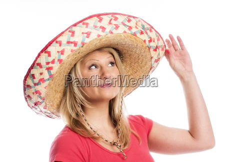 young woman wearing a sombrero