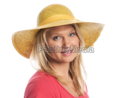 young woman with summer hat