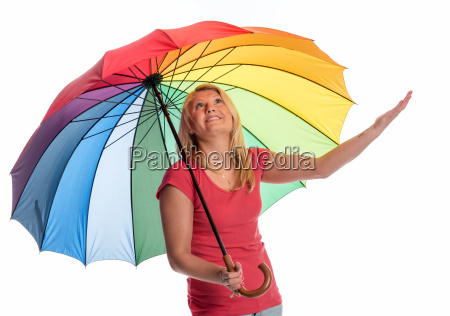 woman with umbrella checking with her