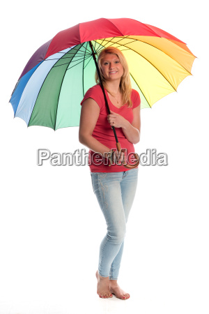 young woman holding a colorful umbrella