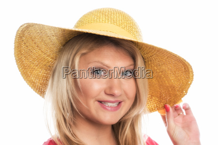 blonde with straw hat in portrait