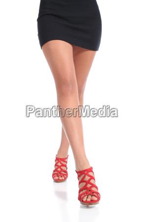 beauty waxed woman legs walking wearing