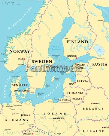 ostseegebiets political map