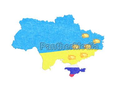 landkarte ukraine karte mit kleinen feuern