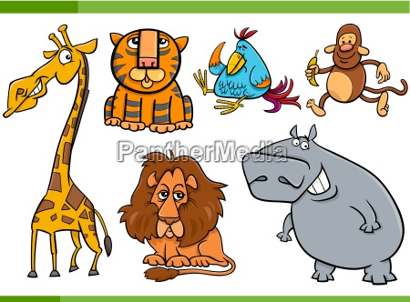 tiere cartoon figuren set