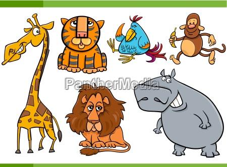 tiere cartoon figuren set