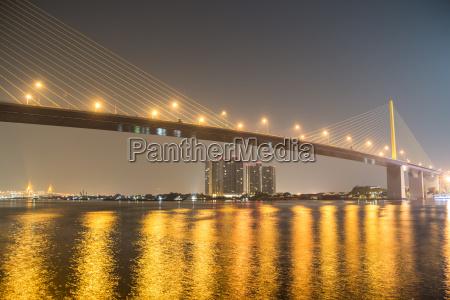bridge construction in city on night