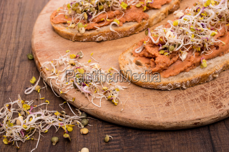 sprouts and vegetable spread made from