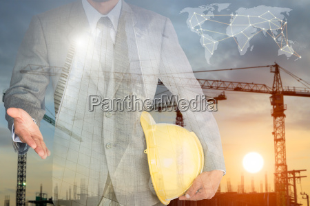 businessman with handshake to cooperation and