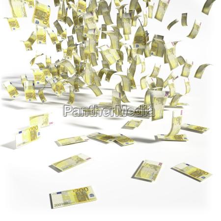 geldregen aus 200 euroscheinen