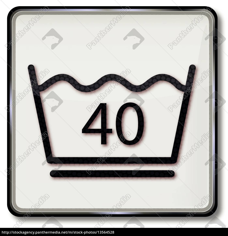 Pflege Leicht textilpflegesymbol pflegeleicht waschen 40 grad lizenzfreies foto