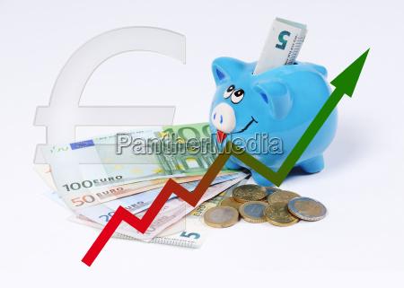 sparschwein mit grafik und euro muenzen
