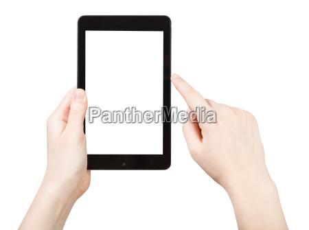 finger klicken touchpad mit ausgeschnittenen bildschirm