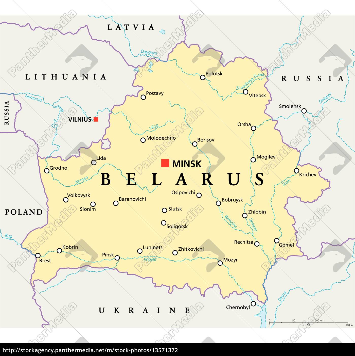 Belarus Politische Karte Lizenzfreies Foto 13571372