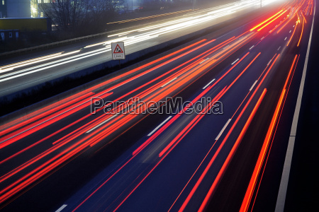 light trail view at a busy