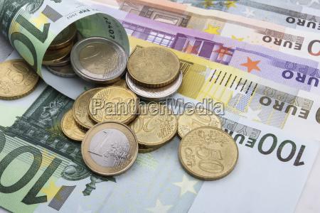euro, (eur), münzen, und, scheine. - 13578502
