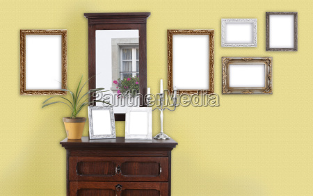 yellow wall with picture frame