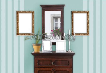 wall with picture frame mint striped