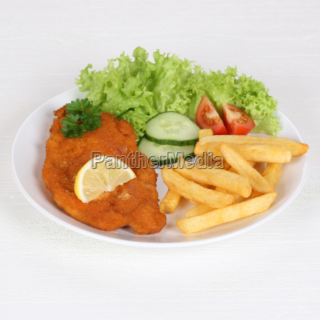 wiener schnitzel with fries and salad