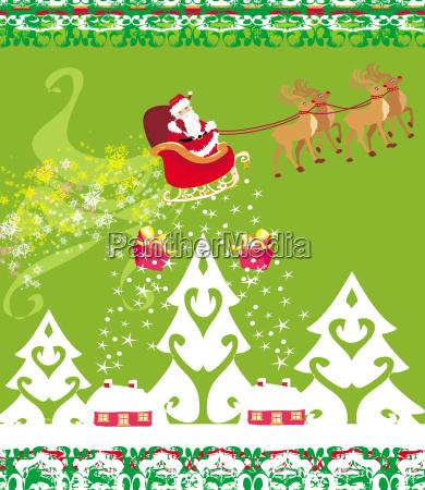 weihnachtsmann und redes abstrakte weihnachtskarte