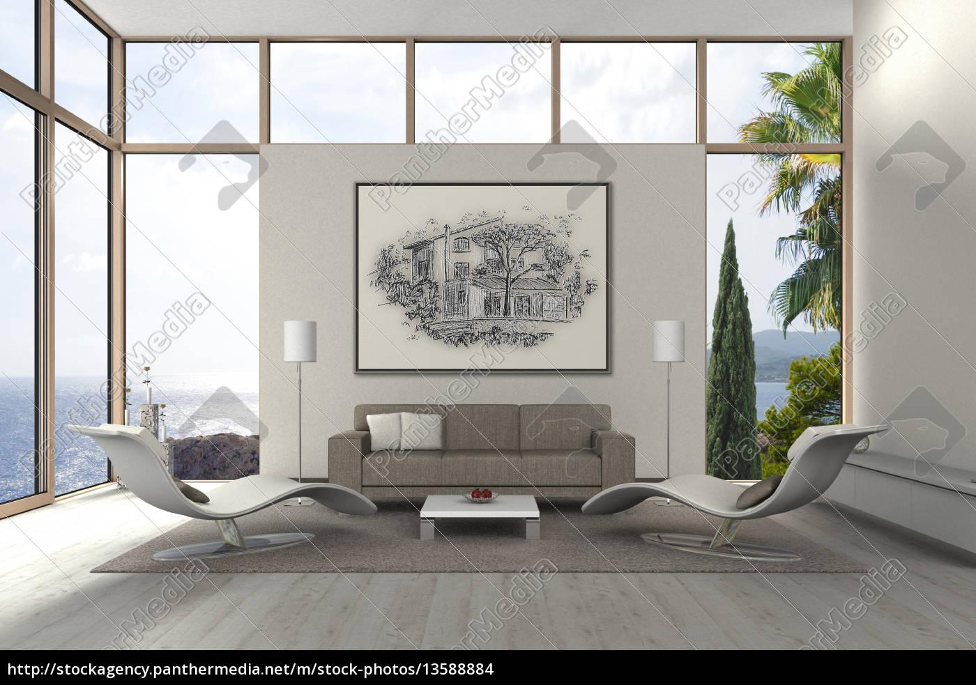 Lizenzfreies Foto 13588884   Mediterranes Modernes Wohnzimmer Am Meer