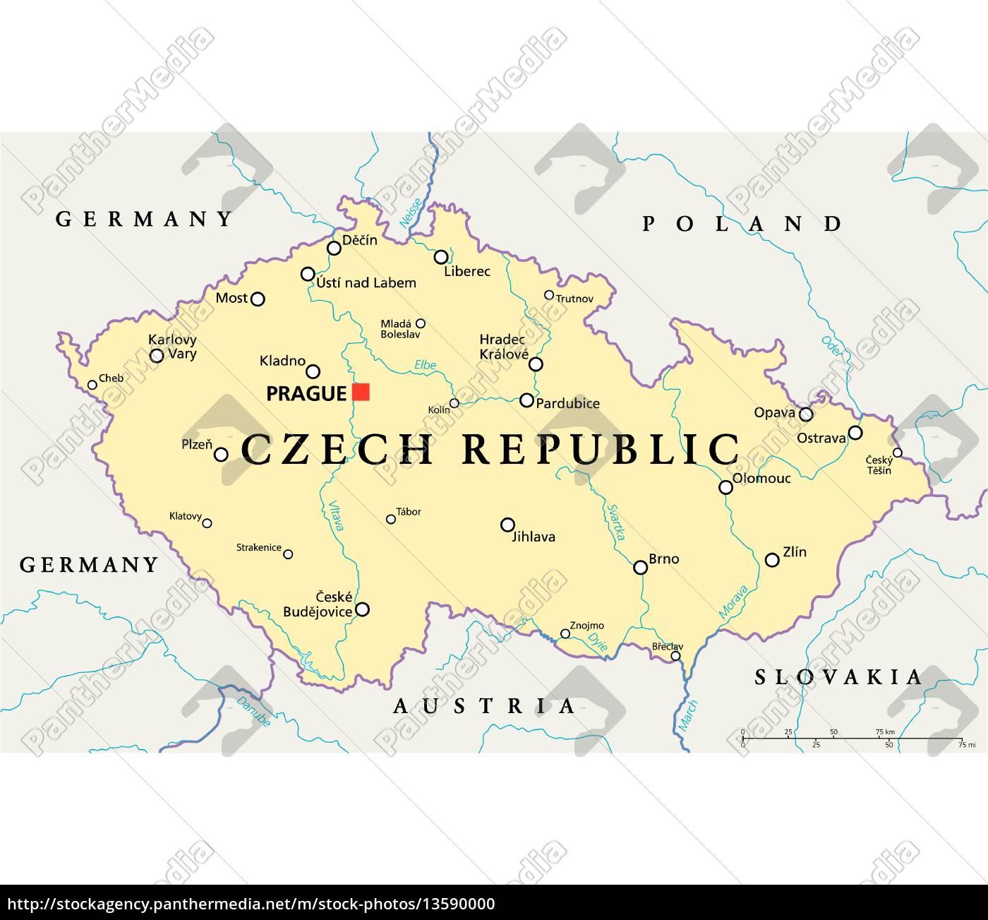 Karte Tschechien.Lizenzfreie Vektorgrafik 13590000 Tschechische Republik Politische Karte