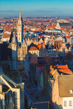 aerial view of ghent from belfry