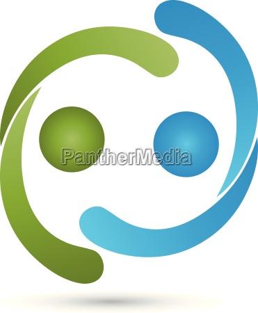 logo people two people partnership