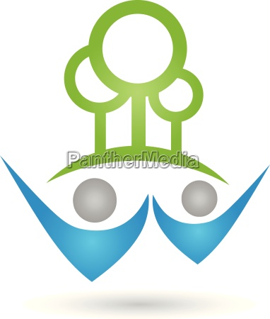 logo people two persons forest