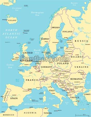 politische landkarte von europa