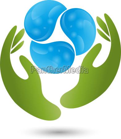 logo zwei haende drei tropfen wasser