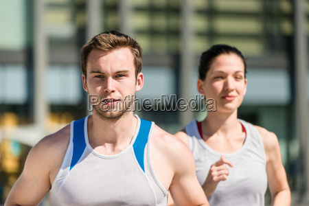 competing jogging in two