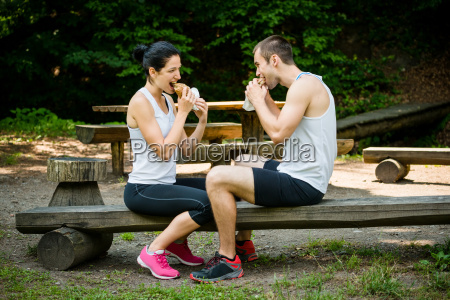 eating together couple after