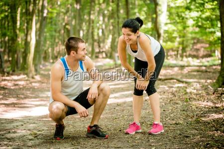 paar, entspannt, sich, nach, joggen - 13615688