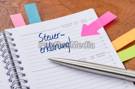 terminkalender mit hinweissticker steuererklaerung