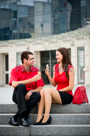 young couple having icecream