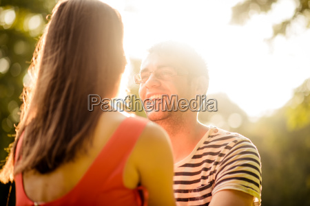 couple talking on date