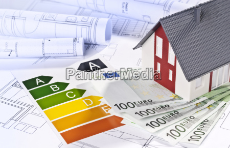 house with eco label euro banknotes