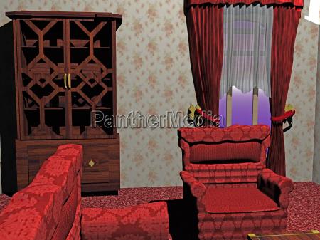 wohnzimmer mit roten moebeln