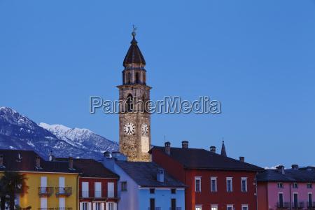 ascona schweiz bucht am abend