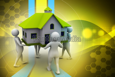 3d people holding a house