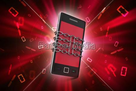 intelligentes telefon mit kette sicherheitskonzept
