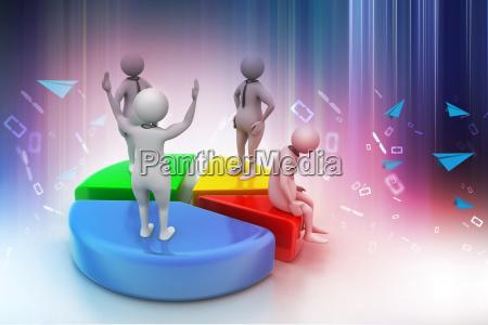3d menschen mit kreisdiagramm business wettbewerb