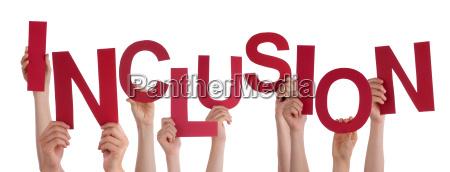 viele menschen hands holding red word