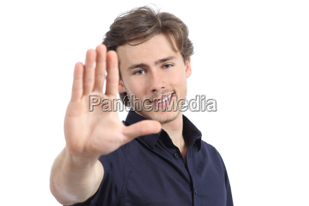schoener mann gestikulierend zu stoppen oder